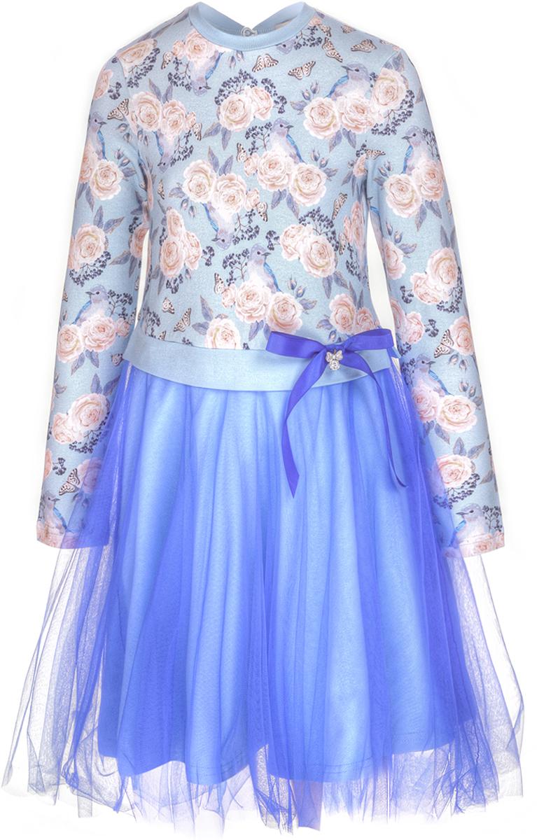 Платье для девочки M&D, цвет: светло-голубой. WKJD27052M64. Размер 110WKJD27052M64