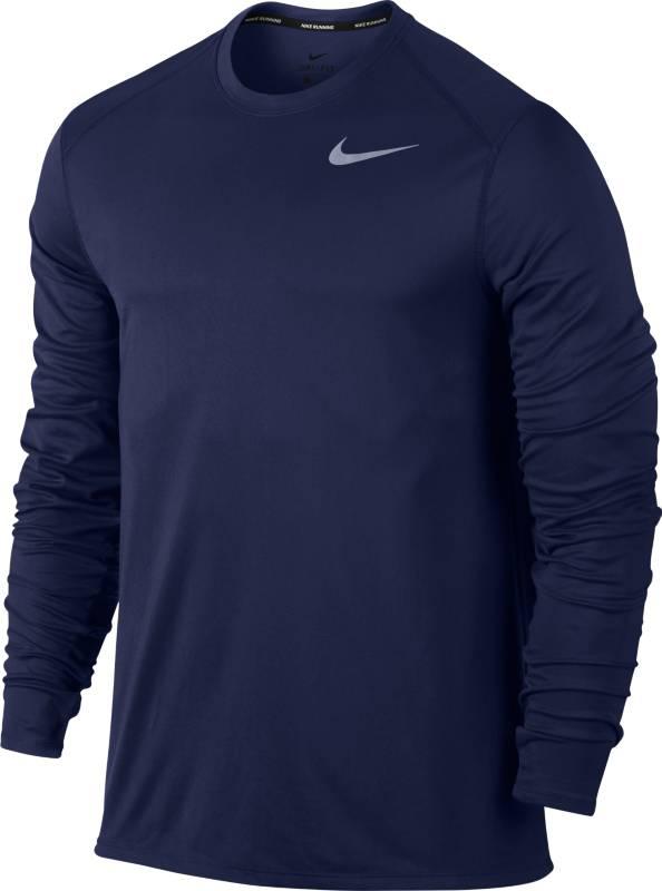 Лонгслив мужской Nike M Nk Top Core Crew, цвет: синий. 885292-429. Размер L (50/52)885292-429Мужской беговой лонгслив Nike из влагоотводящей ткани с эргономичными отверстиями для больших пальцев обеспечивает комфорт и прекрасно сочетается с другими моделями. Благодаря светоотражающим деталям ты можешь совершать пробежки даже в темное время суток. Технология Dri-Fit отводит влагу и обеспечивает комфорт.