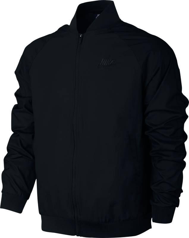 Куртка мужская Nike Sportswear Jacket, цвет: черный. 832224-010. Размер M (46/48)832224-010Мужская куртка Nike Sportswear сохраняет такие классические детали куртки-бомбера, как воротник из рубчатой ткани и открытые карманы с обтачкой, в то же время текстурные рукава привносят в образ новизну. Модель выполнена из тафты и добби.