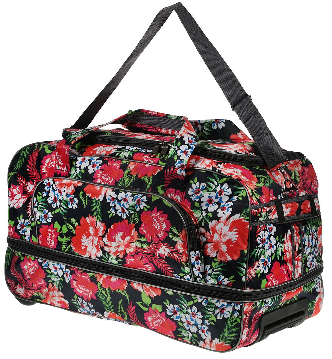 Сумка дорожная AMeN Цветы, с выдвижной ручкой, на колесах, 65 х 32 х 38 см1695948_цветыСтильная дорожная сумка AMeN Цветы прекрасно подойдет для путешествий так и для деловых поездок. Сумка выполнена из текстиля. Изделие имеет одно основное отделение с увеличением объема, закрывающееся на застежку-молнию. Снаружи, на боковой стенке расположен накладной карман на застежке-молнии. Модель оснащена двумя удобными ручками для переноски в руках. Для более удобной транспортировки основание изделия оснащено удобной выдвижной ручкой и двумя колесиками. Основание - жесткое, дополнено пластиковыми ножками. Такая дорожная сумка сможет вместить в себя все самое необходимое для путешествия.Длина выдвижной ручки: 39 см.