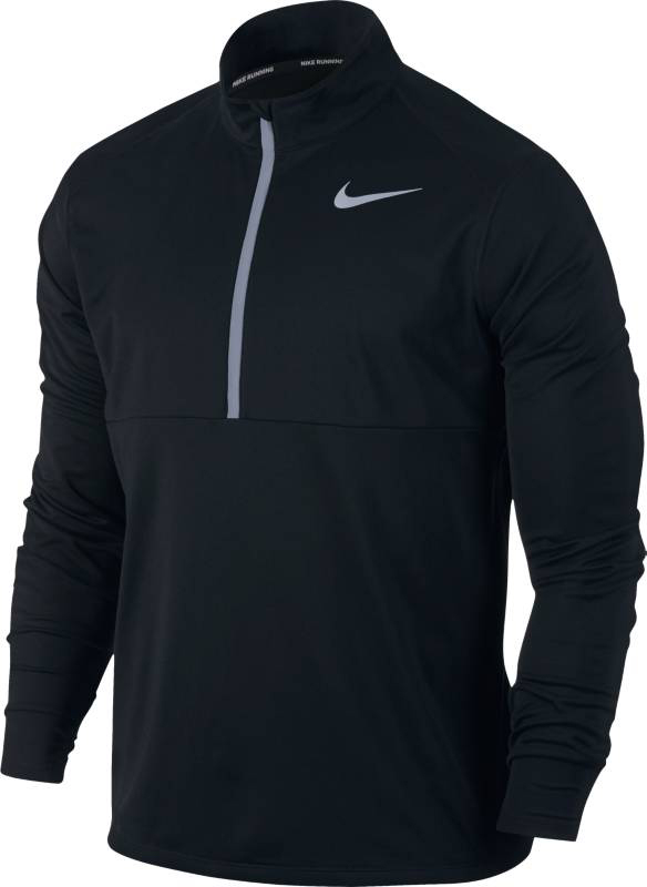 Лонгслив мужской Nike Nk Top Core Hz, цвет: черный. 856827-010. Размер M (46/48)856827-010Мужской беговой лонгслив Nike из влагоотводящей ткани с эргономичными отверстиями для больших пальцев обеспечивает комфорт и прекрасно сочетается с другими моделями. Молния до середины груди позволяет регулировать вентиляцию. Технология Dri-Fit отводит влагу и обеспечивает комфорт.