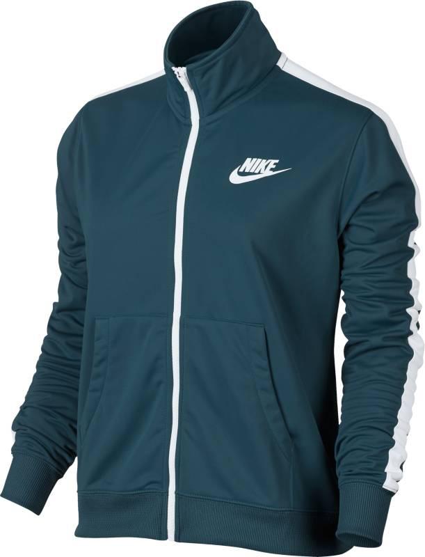 Олимпийка женская Nike Nsw Trk Jkt Pk, цвет: синий. 850450-425. Размер L (48/50)850450-425Стильная женская олимпийка для занятий спортом и повседневной носки. Модель с длинными рукавами и воротником-стойкой застегивается на молнию.