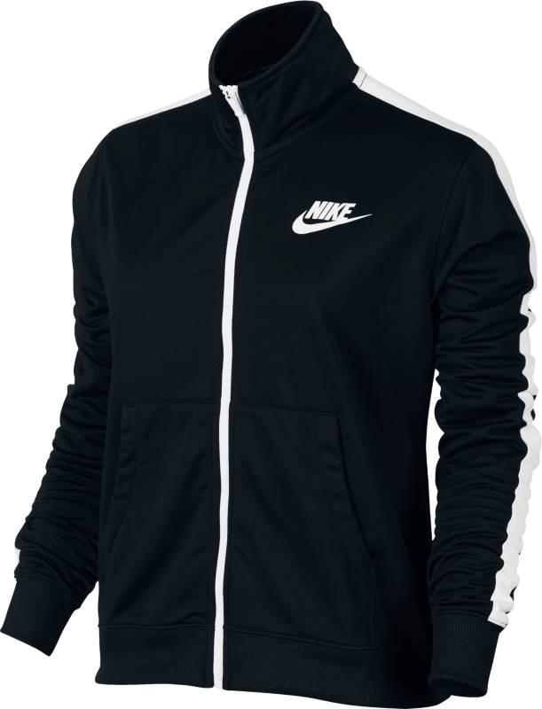 Олимпийка женская Nike Nsw Trk Jkt Pk, цвет: черный. 850450-010. Размер M (46/48)850450-010Стильная женская олимпийка для занятий спортом и повседневной носки. Модель с длинными рукавами и воротником-стойкой застегивается на молнию.