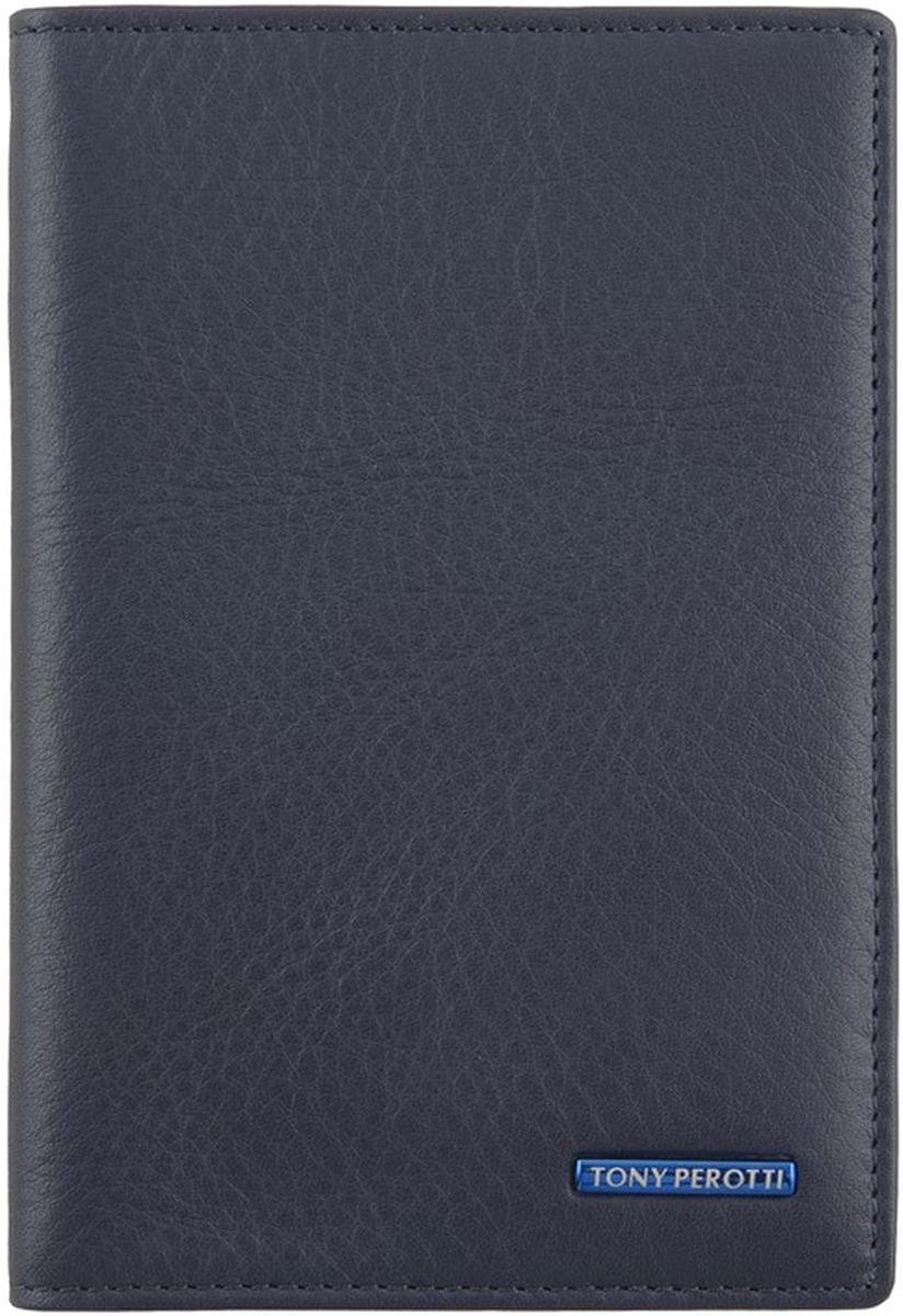 Обложка для паспорта Tony Perotti, цвет: темно-синий. 563435/23Натуральная кожаОбложка для паспорта выполнена из натуральной кожи. Внутри пять кармашков для визиток.