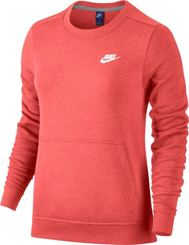 Свитшот женский Nike NSW CRW FLC, цвет: красный. 853926-608. Размер S (42/44) свитшоты nike свитшот m nsw crw flc club