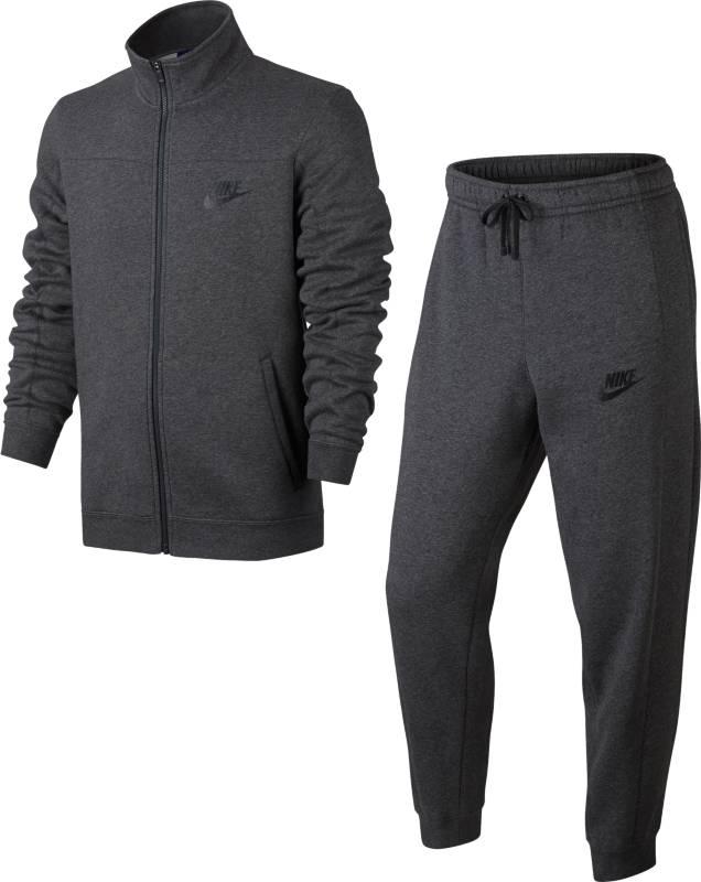 Спортивный костюм мужской Nike Nsw Trk Suit Flc, цвет: серый. 861776-071. Размер S (44/46)861776-071Мужской спортивный костюм Nike Sportswear, состоящий из олимпийки и брюк, обеспечивает комфорт благодаря теплому флису, классическому силуэту, анатомическому крою рукавов и идеальной посадке. Флисовая ткань с начесом по изнаночной стороне для дополнительной мягкости.