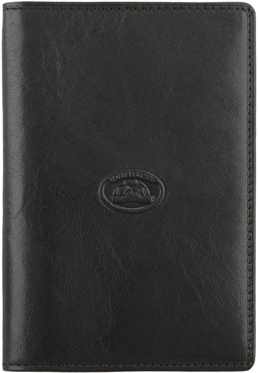 Обложка для паспорта Tony Perotti, цвет: черный. 273435/1273435/1Автономная секция для паспорта, пять кармашков для визиток