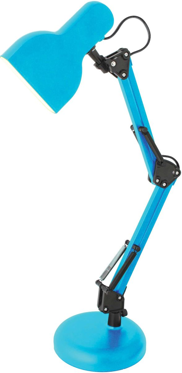 Светильник настольный Camelion Loft, цвет: голубой, 5 W, 230 V, 4000 К. KD-815 C1312850Светодиодный светильник Camelion - превосходное и современное решение для офиса и дома, лаконичный стильный дизайн. выполнено в классическомдизайне с устойчивым металлическим основанием. Характеристики: Вид ламп: светодиодная. Направление света регулируется стойкой, котораяобеспечивает наклон и поворот плафона в любомнаправлении.