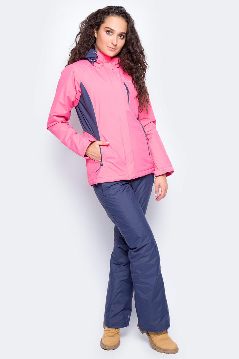 Куртка женская Columbia Montague Pines W Ski, цвет: розовый. 1737111-601. Размер XL (50)1737111-601Утепленная женская куртка Montague Pines от Columbia создана для катания на горных лыжах. Материал с водонепроницаемым покрытием защищает изделие от промокания. Воротник-стойка служит дополнительной защитой от холода и ветра. Модель оснащена специальной отстегивающейся снегозащитной юбкой. Куртка дополнена двумя боковыми и одним нагрудным карманами на молниях. На рукавах расположены хлястики на липучках, защищающие от попадания внутрь снега и воды. Капюшон оснащен эластичным шнурком со стопперами.