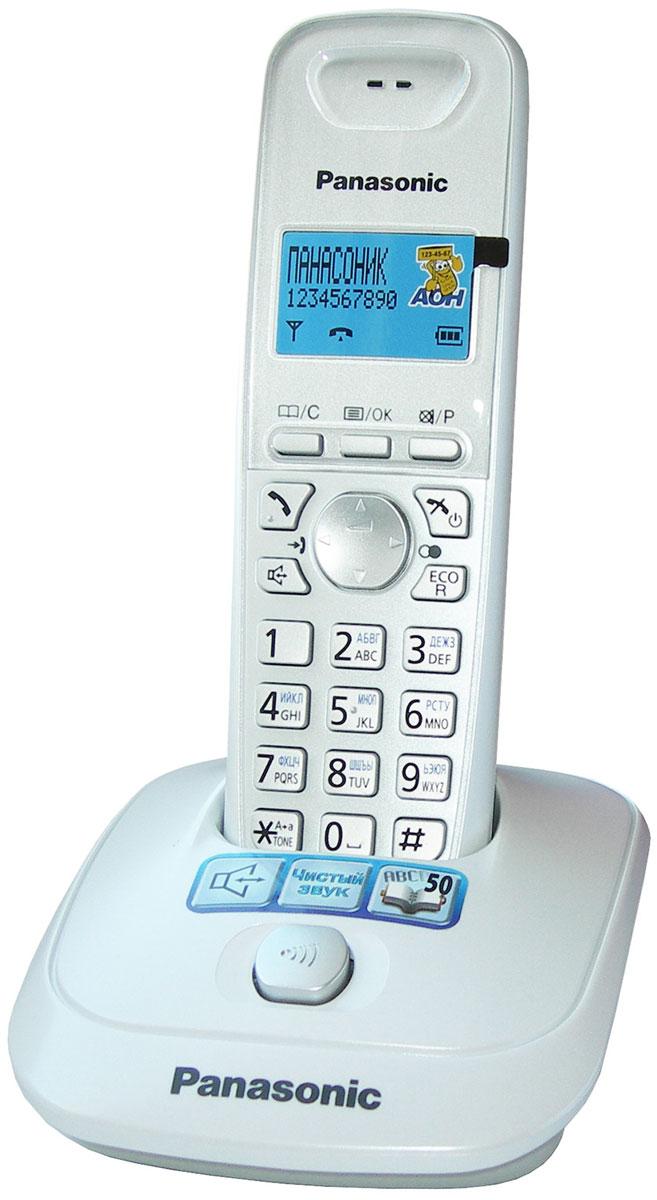 Panasonic KX-TG2511RUW, WhiteKX-TG2511RUWБеспроводной телефон Panasonic KX-TG2511 RUM хорошо впишется в интерьер жилой комнаты или современного делового кабинета. Модель имеет автоматический определитель номера, журнал регистрации звонков, телефонную книгу на 50 номеров. Поддерживается режим громкой связи и использование дополнительных трубок.Аккумулятор обеспечивает работу телефона в течение 18 часов в режиме разговора и 170 часов в режиме ожидания. Производитель позаботился об экономичности устройства – простым нажатием кнопки Panasonic KX-TG2511 можно перевести в энергосберегающий режим работы. АОН, Caller ID (журнал на 50 вызовов) Спикерфон на трубке Телефонный справочник (50 записей) Полифонические мелодии звонка Кириллица на дисплее Время / дата на дисплее Повторный набор номера Переход в Эко режим одним нажатием До 18 ч в режиме разговора До 170 ч в режиме ожидания