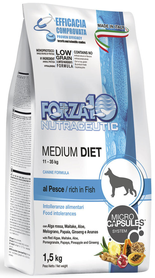 Корм сухой Forza10 Diet для взрослых собак средних пород, с океанической рыбой с микрокапсулами, 1,5 кг0103115Корм для взрослых собак средних пород из океанической рыбы с микрокапсулами. Монобелковый, Полнорационный, гипоаллергенный. Для чувствительных собак средних пород с пищевой непереносимостью мяса промышленного производства.Для сокращения пищевой аллергии и непереносимости ингредиентов корма и питательных веществ.