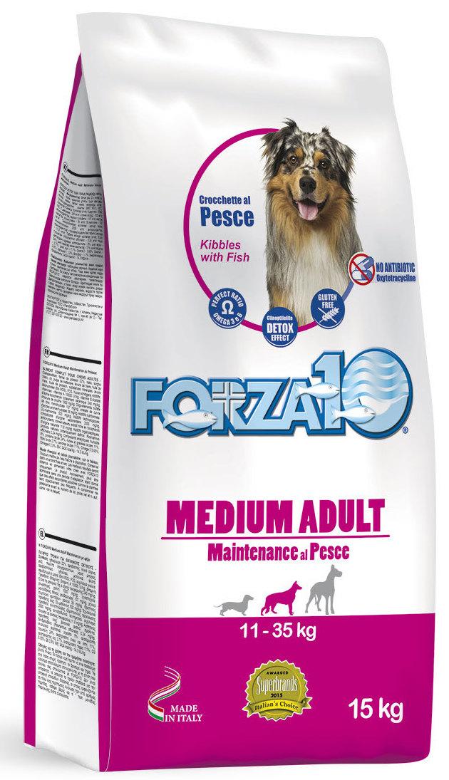 Корм сухой Forza10 Maintenance для взрослых собак средних пород, с треской, голубым тунцом и лососем, 15 кг0106015Корм для взрослых собак средних пород из трески, голубого тунца и лосося. Полнорационный, гипоаллергенный, монобелковый. Здоровье кожного покрова и шерсти. Повседневная формула позволит вашей собаке оставаться с отличной физической форме, специальный комплекс защитит иммунную систему. Особый баланс Омега 3:6 поддержит здоровье кожи и шерсти. Подходит для собак с чувствительным пищеварением, чувствительностью к мясу промышленного производства и склонностью к раздражениям кожи.