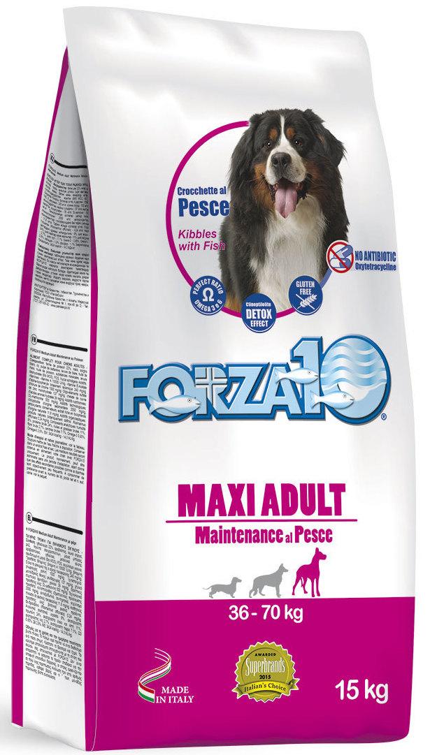 Корм сухой Forza10 Maintenance, для взрослых собак крупных пород, с треской, голубым тунцом и лососем, 15 кг витамины 8 in 1 eu excel brewer's yeast пивные дрожжи для собак крупных пород 80 таб 109525