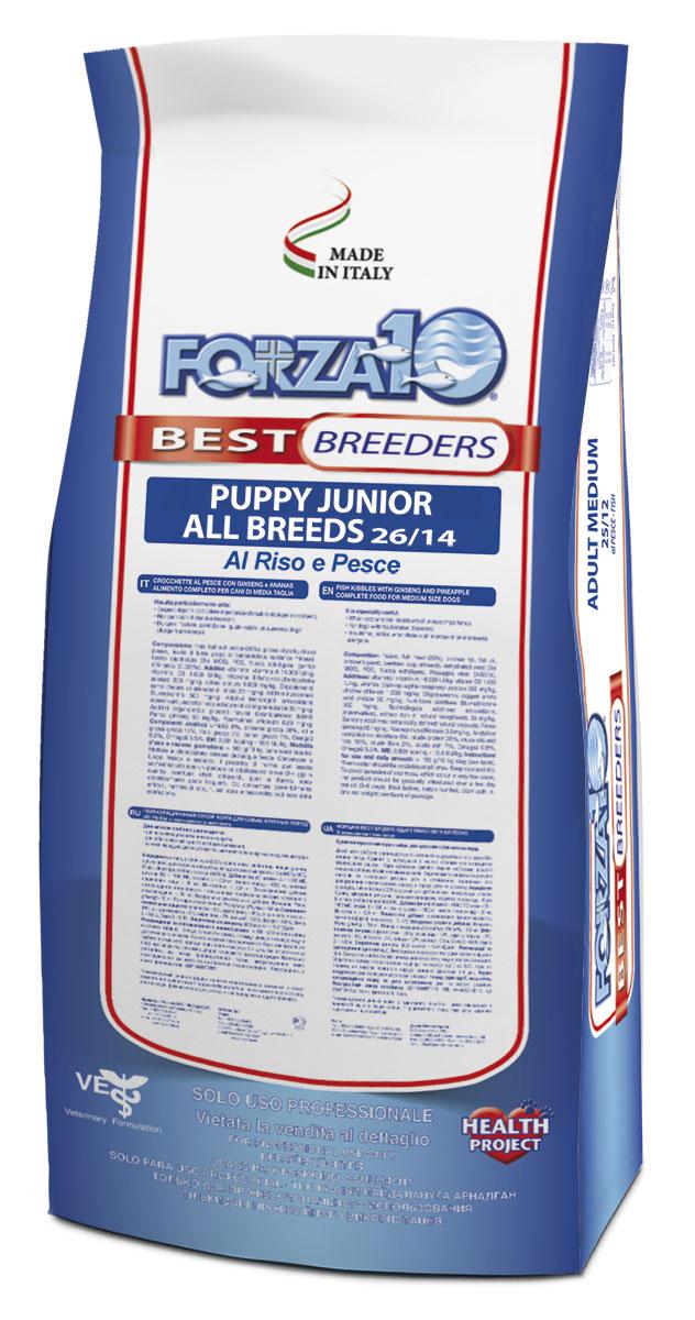 Корм сухой Forza 10 Best Breeders, для щенков всех пород, из морской рыбы и отборного риса, 20 кг0109056Forza 10 Best Breeders из риса и рыбы, представляет собой идеальное питание для собак всех пород в период роста и развития. Корм производится из морской рыбы и отборного риса с хорошей усваяемостью. В то же время корм способствует профилактики и лечению дисбактериоза, формируя нормальную бактериальную флору кишечника. Добавление в формулу рыбы и рыбьего жира, которые являются богатыми источниками ненасыщенных жирных кислот Омега-3, способствует правильной работе когнитивных функций организма, отличному состоянию кожи и шерсти.Состав: рис 34%, рыбная мука 21%, рисовая мука, масла и жиры, пивные дрожжи, пульпа свеклы, минеральные вещества, дегидратированные дрожжи (Био МОС), ФОС, Юкка Шидигера, растительные жиры и масла (Elaeis guineensis), продукты, полученные в результате переработки растений (Ананас (Ananas spp.) 0,025%), продукты и субпродукты свежих фруктов и овощей (Папайя (Carica papaya) 0,0151%).