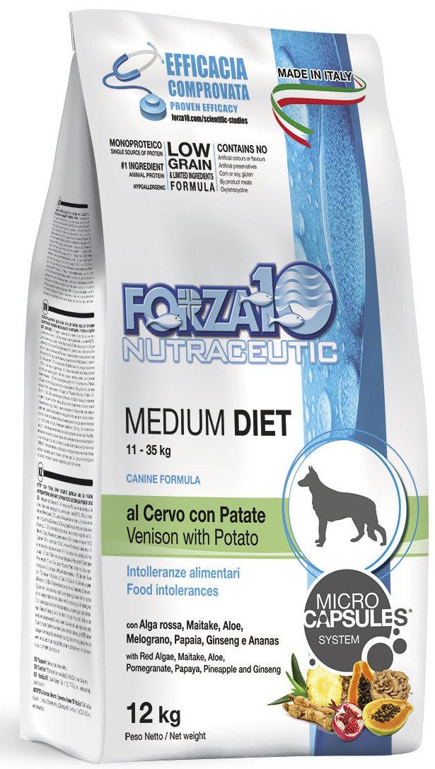 Корм сухой Forza10 Diet для взрослых собак средних пород, с олениной и картофелем с микрокапсулами, 12 кг0110012Корм для взрослых собак средних пород из оленины с картофелем. Монобелковый, полнорационный, гипоаллергенный с микрокапсулами, которые обеспечивают сохранность природных компонентов добавленных в формулу (ананас, папайя, гранат и женьшень), а также их медленное высвобождение и постепенное усваивание в желудочно-кишечном тракте, что гарантирует более устойчивый эффект.Оленина - источник белка высокой биологической ценности с хорошей перевариваемостью и усваяемостью.