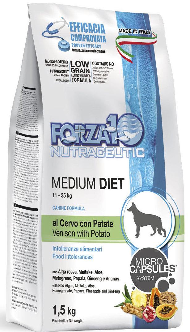 Корм сухой Forza10 Diet для взрослых собак средних пород, с олениной и картофелем с микрокапсулами, 1,5 кг0110115Корм для взрослых собак средних пород из оленины с картофелем. Монобелковый, полнорационный, гипоаллергенный с микрокапсулами, которые обеспечивают сохранность природных компонентов добавленных в формулу (ананас, папайя, гранат и женьшень), а также их медленное высвобождение и постепенное усваивание в желудочно-кишечном тракте, что гарантирует более устойчивый эффект.Оленина - источник белка высокой биологической ценности с хорошей перевариваемостью и усваяемостью.