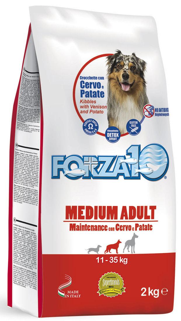 Корм сухой Forza10 Maintenance для взрослых собак средних пород, с мясом дикого оленя и молодым картофелем, 2 кг0111002Повседневный корм для взрослых собак средних пород из благородного мяса дикого оленя с молодым картофелем. Для собак с высоким уровнем чувствительности к мясу промышленного производства. Рекомендуется для профилактики и лечения пищевой аллергии и непереносимости. Подходит собакам с чувствительным пищеварением, чувствительной кожей (склонной к раздражениям, расчесам, перхоти) и собакам с избирательным аппетитом. Содержит МОС+ФОС для поддержания здоровья кишечника и общего иммунитета