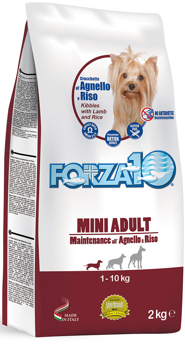 Корм сухой Forza10 Maintenance для взрослых собак мелких и средних пород, с ягненком и рисом, 2 кг корм сухой pronature original 26 для собак мелких и средних пород с курицей 16 кг