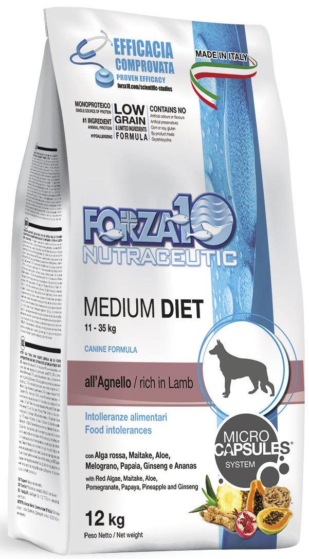 Корм сухой Forza10 Diet для взрослых собак средних пород, с ягненком с микрокапсулами, 12 кг0116012Корм для взрослых собак средних пород из ягненка с микрокапсулами. Монобелковый, полнорационный, гипоаллергенный. Это десенсибилизирующая диета, разработанная для собак с высоким уровень чувствительности к мясу промышленного производства. Рекомендуется для профилактики и лечения пищевой аллергии и непереносимости ингредиентов кормов и питательных веществ.