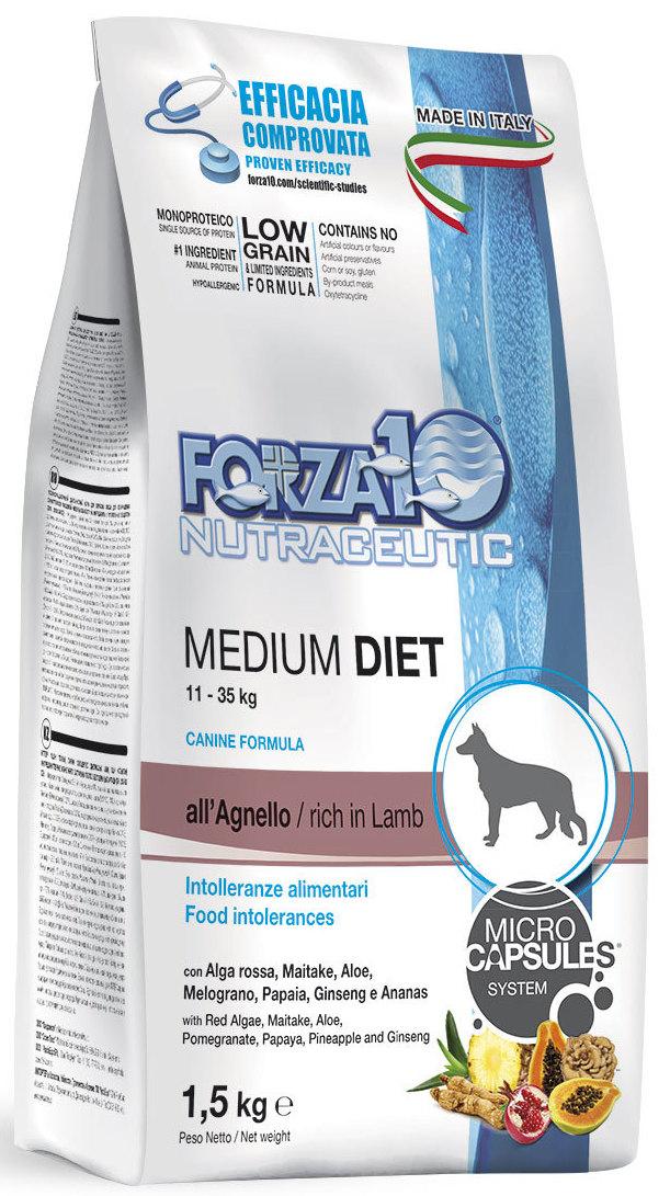 Корм сухой Forza10 Diet для взрослых собак средних пород, с ягненком с микрокапсулами, 1,5 кг0116115Корм для взрослых собак средних пород из ягненка с микрокапсулами. Монобелковый, полнорационный, гипоаллергенный. Это десенсибилизирующая диета, разработанная для собак с высоким уровень чувствительности к мясу промышленного производства. Рекомендуется для профилактики и лечения пищевой аллергии и непереносимости ингредиентов кормов и питательных веществ.