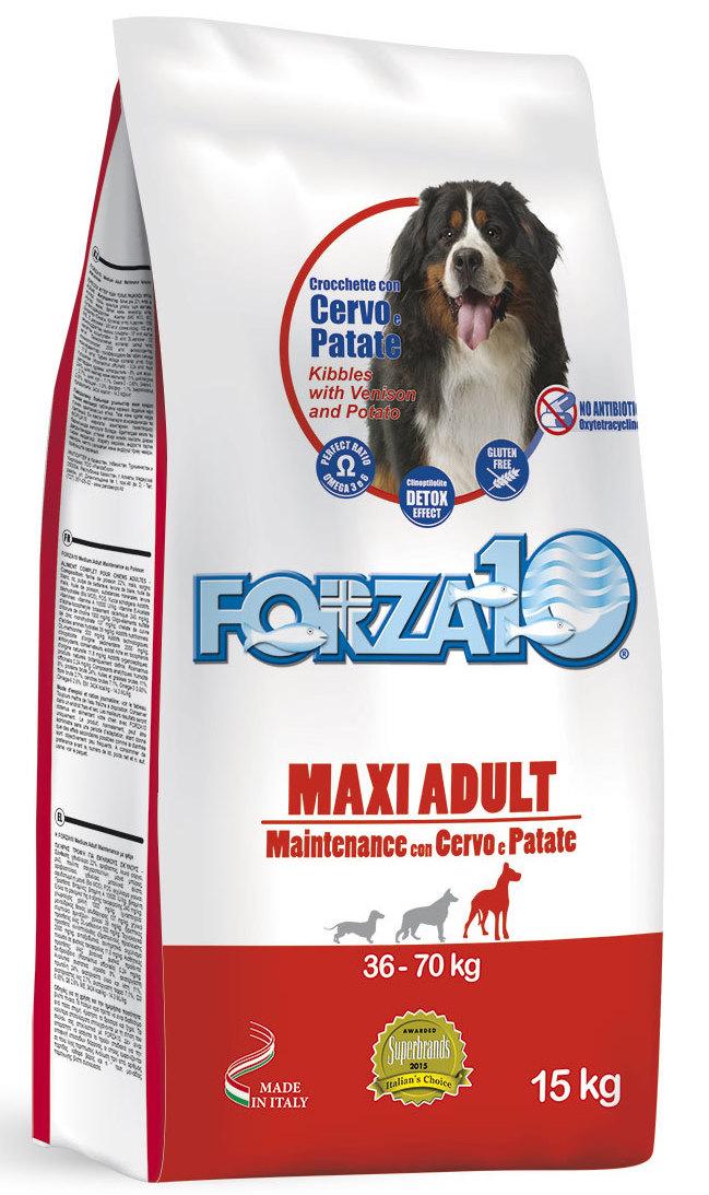 Корм сухой Forza10 Maintenance для взрослых собак крупных пород, с олениной и молодым картофелем, 15 кг0117015Корм для взрослых собак крупных пород из благородного мяса дикого оленя с молодым картофелем. Для собак с высокой чувствительностью к мясу промышленного производства. Рекомендуется для профилактики и лечения пищевой аллергии и непереносимости. Подходит собакам с чувствительным пищеварением, чувствительной кожей (склонной к раздражениям, расчесам, перхоти) и собакам с избирательным аппетитом. Содержит МОС+ФОС для поддержания здоровья кишечника и общего иммунитета.