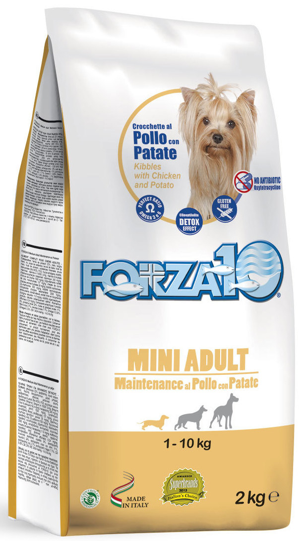 Корм сухой Forza10 Maintenance для взрослых собак мелких пород, с курицей и картофелем, 2 кг