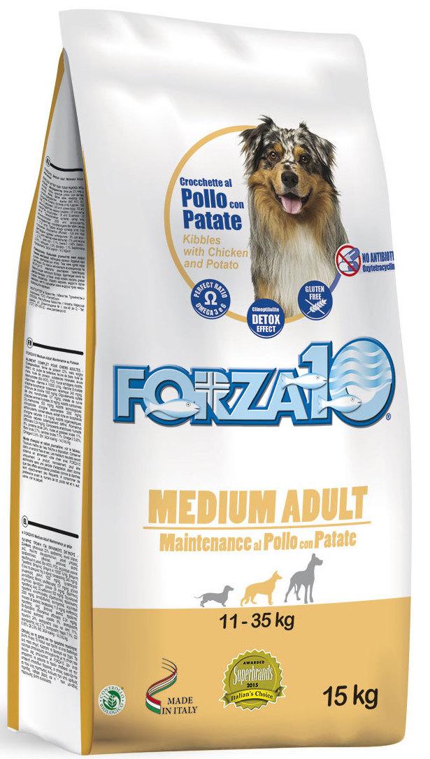 Корм сухой Forza10 Maintenance для взрослых собак средних и крупных пород, с курицей с картофелем, 15 кг0118015
