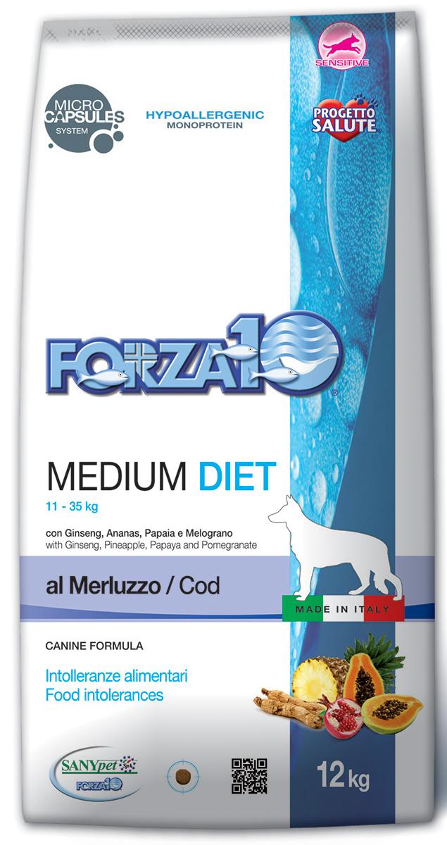 Корм сухой Forza10 Diet для взрослых собак средних пород, с треской с микрокапсулами, 12 кг0119012Корм для взрослых собак средних пород из трески. Монобелковый, полнорационный, гипоаллергенный с микрокапсулами, которые обеспечивают сохранность природных компонентов добавленных в формулу (ананас, папайя, гранат и женьшень), а также их медленное высвобождение и постепенное усвоение в желудочно-кишечном тракте, что гарантирует более устойчивый эффект. К изначальной формуле, с соотношением Омега-3 и Омега-6 жирных кислот 1:3.