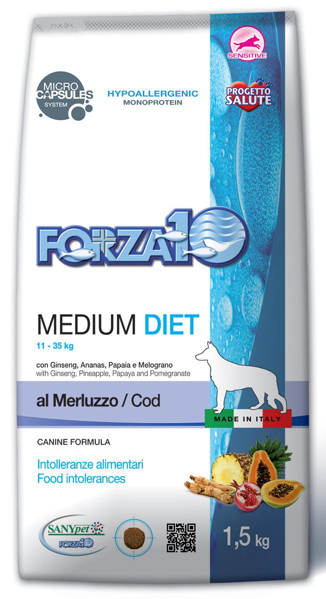 Корм сухой Forza10 Diet для взрослых собак средних пород, с треской с микрокапсулами, 1,5 кг0119115Корм для взрослых собак средних пород из трески. Монобелковый, полнорационный, гипоаллергенный с микрокапсулами, которые обеспечивают сохранность природных компонентов добавленных в формулу (ананас, папайя, гранат и женьшень), а также их медленное высвобождение и постепенное усвоение в желудочно-кишечном тракте, что гарантирует более устойчивый эффект. К изначальной формуле, с соотношением Омега-3 и Омега-6 жирных кислот 1:3.