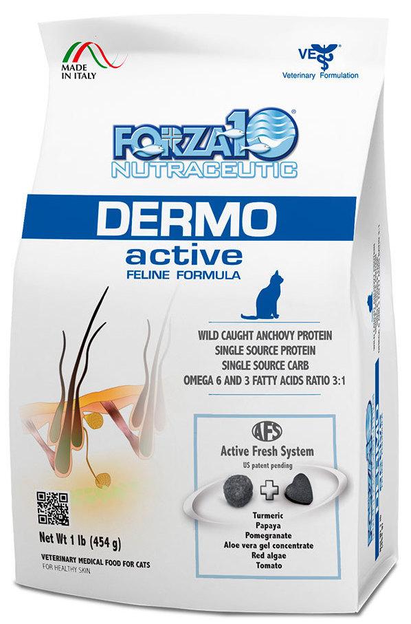 Корм сухой Forza10 Active Line для взрослых кошек с патологиями кожного покрова, 0,454 кг0201454Корм для взрослых кошек, с патологиями кожного покрова. Аллергические реакции на коже, при проблемах кожи, при паразитарных заболеваниях как поддерживающий корм.