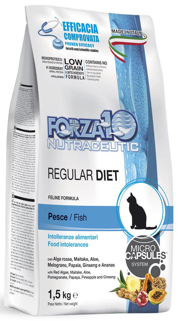 Корм сухой Forza10  Diet  для взрослых кошек, при аллергии и повышенной чувствительности к животным белкам, с океанической рыбой, 1,5 кг - Корма и лакомства