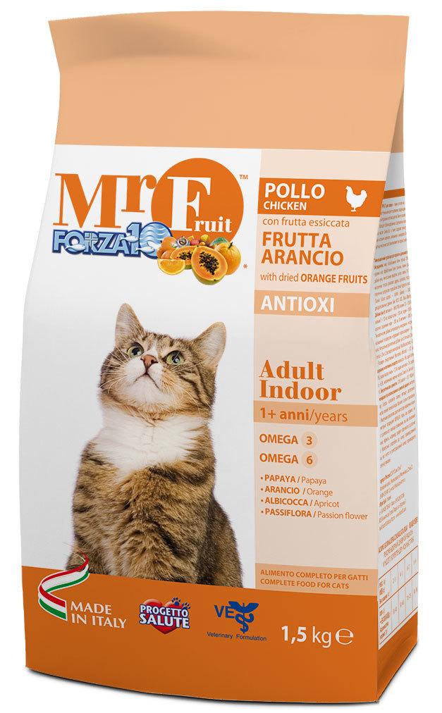 Корм сухой Forza10 Fruit для взрослых кошек, с курицей и рыбой, 1,5 кг0209015Корм для взрослых домашних кошек. Гарантия отличной физической формы. Высокая усваиваемость. Уникальная формула удовлетворит самых изысканных гурманов.