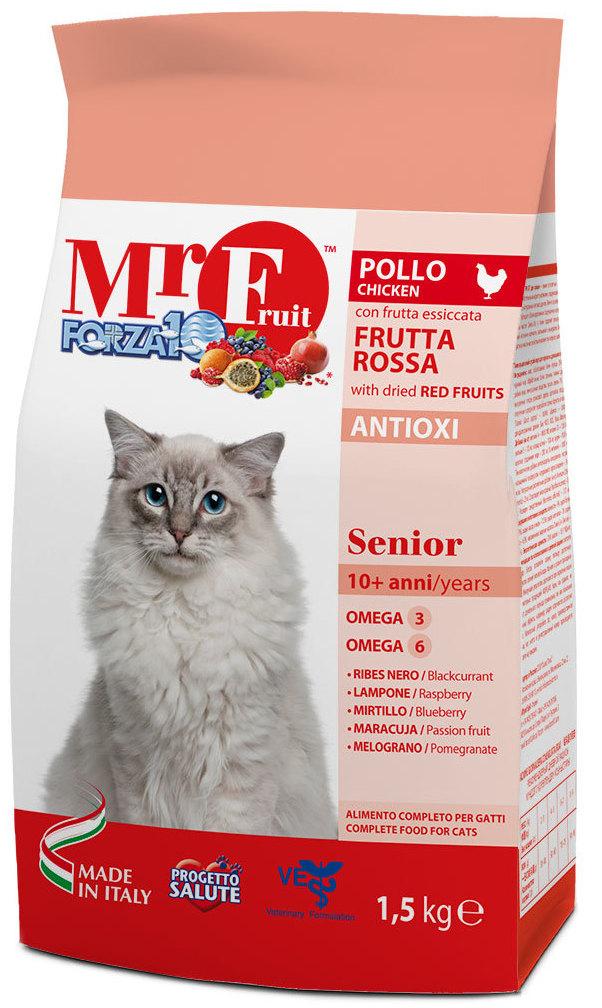 Корм сухой Forza10 Fruit для пожилых кошек, с курицей и рыбой, 1,5 кг0211015Корм для пожилых кошек. Правильный обмен питательных веществ и защита организма. Активная физическая форма даже в преклонном возрасте.Чем кормить пожилых кошек: советы ветеринара. Статья OZON Гид