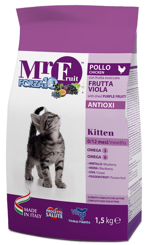 Корм сухой Forza10 Fruit для котят до 12 месяцев, с курицей и рыбой, 1,5 кг0213015Корм для котят до 12 мес. С экстрактами антиоксидантов. Для укрепления имунной системы организма котенка. Натуральные растительные добавки.