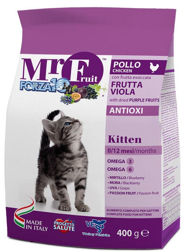 Корм сухой Forza10 Fruit для котят до 12 месяцев, с курицей и рыбой, 0,4 кг0213400Корм для котят до 12 мес. С экстрактами антиоксидантов. Для укрепления имунной системы организма котенка. Натуральные растительные добавки.