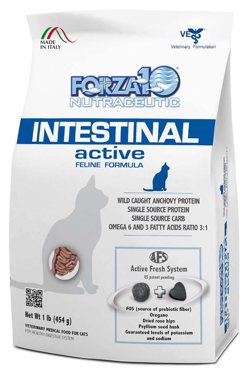 Корм сухой Forza10 Active Line для взрослых кошек при проблемах пищеварения, 0,454 кг0214454Корм для взрослых кошек при проблемах пищеварения (рвота, вздутие кишечника, диарея и запор); восстановление всасывания в кишечнике, компенсация недостаточности поджелудочной железы.