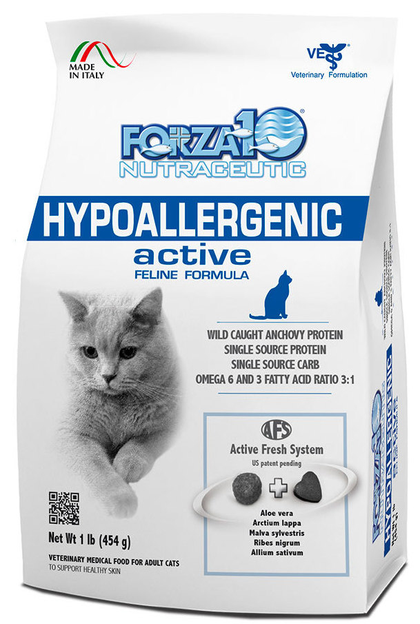 Корм сухой Forza10 Active Line для взрослых кошек с проблемами пищевой непереносимости и аллергии, 0,454 кг0216454Корм для взрослых кошек с проблемами пищевой непереносимости и аллергии на животный белок, дерматиты, зуд, перхоть, себореи, пиодермит. Улучшает физиологические защитные механизмы.