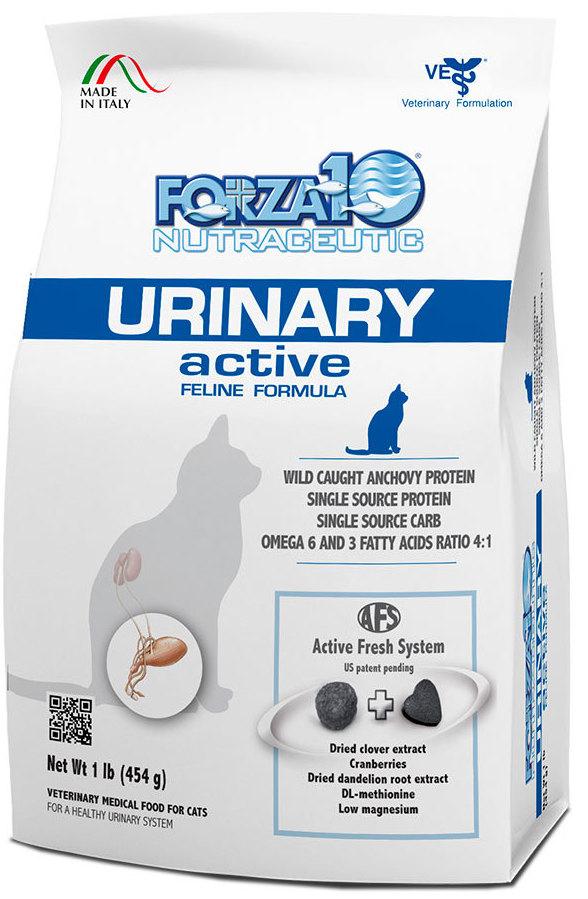 Корм сухой Forza10 Active Line для взрослых кошек при заболеваниях мочевыводящих путей, 0,454 кг0217454Корм для взрослых кошек при заболеваниях мочевыводящих путей. Для растворения струвитных уролитов НЕБОЛЬШИХ РАЗМЕРОВ и для предупреждения рецидивов. Лечение заболеваний нижних отделов мочевыводящих путей у кошек, сокращение рисков рецидивов, сокращение симптомов пищевой непереносимости.