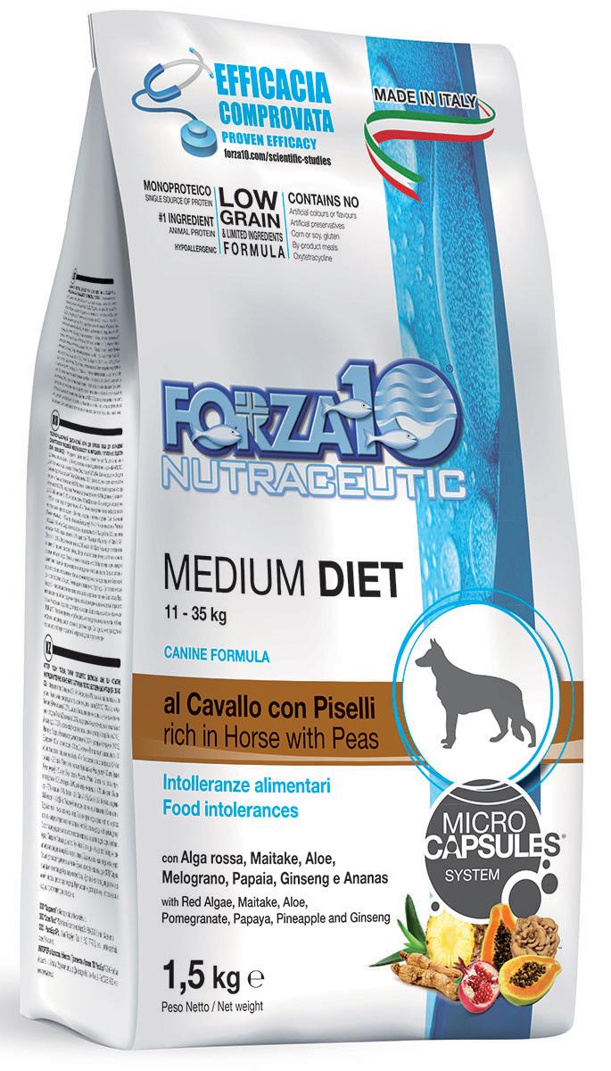 Корм сухой Forza10 Diet для взрослых собак средних пород, с кониной, горохом и рисом с микрокапсулами, 1,5 кг110315
