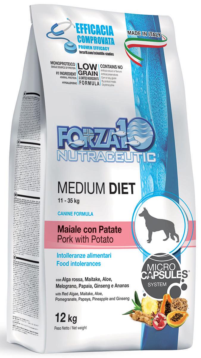 Корм сухой Forza10 Diet для взрослых собак средних пород, со свининой, картофелем и рисом с микрокапсулами, 12 кг110412