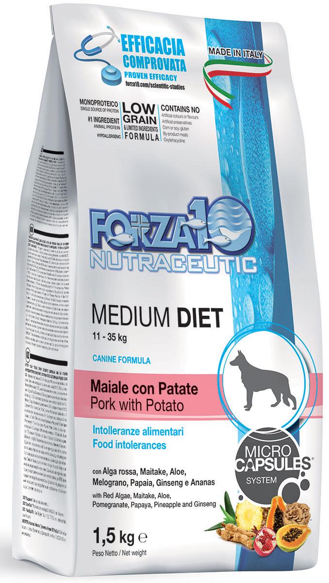 Корм сухой Forza10 Diet для взрослых собак средних пород, со свининой, картофелем и рисом с микрокапсулами, 1,5 кг110415
