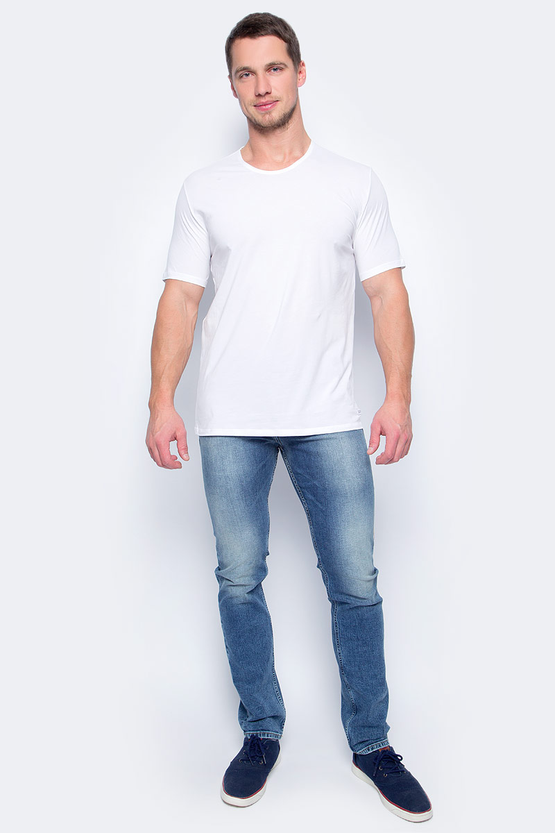Футболка мужская Calvin Klein Jeans, цвет: белый. NB1332A_100. Размер S (46) 2015 new hot sale fashion luxury high quality men s brand jeans trousers classic casual scratch denim jeans plus size 28 46