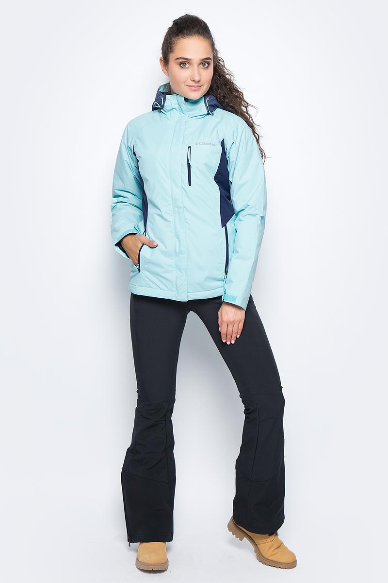 Куртка женская Columbia Montague Pines W Ski, цвет: голубой. 1737111-470. Размер S (44)1737111-470Утепленная женская куртка Montague Pines от Columbia создана для катания на горных лыжах. Материал с водонепроницаемым покрытием защищает изделие от промокания. Воротник-стойка служит дополнительной защитой от холода и ветра. Модель оснащена специальной отстегивающейся снегозащитной юбкой. Куртка дополнена двумя боковыми и одним нагрудным карманами на молниях. На рукавах расположены хлястики на липучках, защищающие от попадания внутрь снега и воды. Капюшон оснащен эластичным шнурком со стопперами.