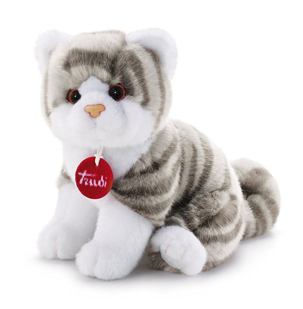 Trudi Мягкая игрушка Котенок Брэд цвет серый белый 24 см trudi котёнок брэд серо белый 24 см