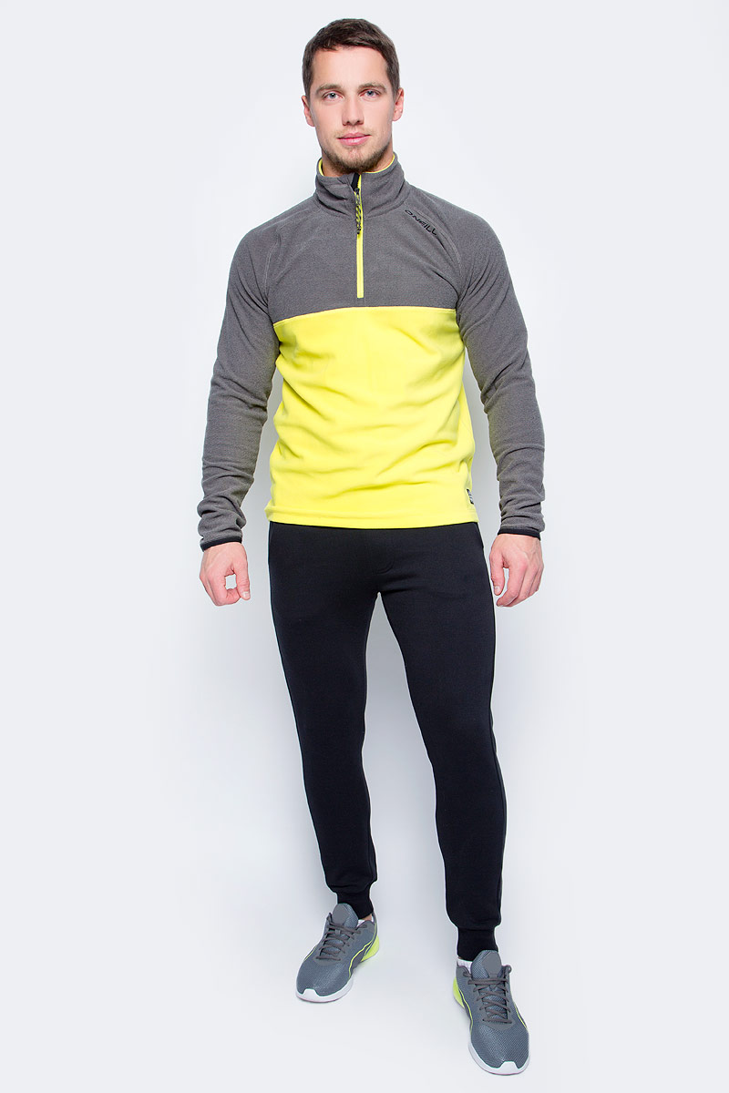 Толстовка мужская O'Neill Pm Ventilator Half Zip Fleece, цвет: серый, желтый. 7P0220-2008. Размер S (46/48)