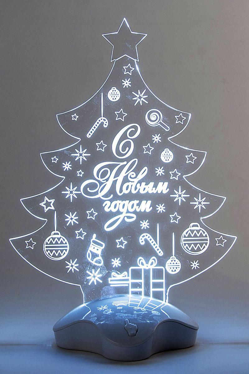 Подставка световая Luazon Елка с подарком, 24 х 17 см. 2446520 подвеска новогодняя luazon lighting елка световая длина 7 5 см