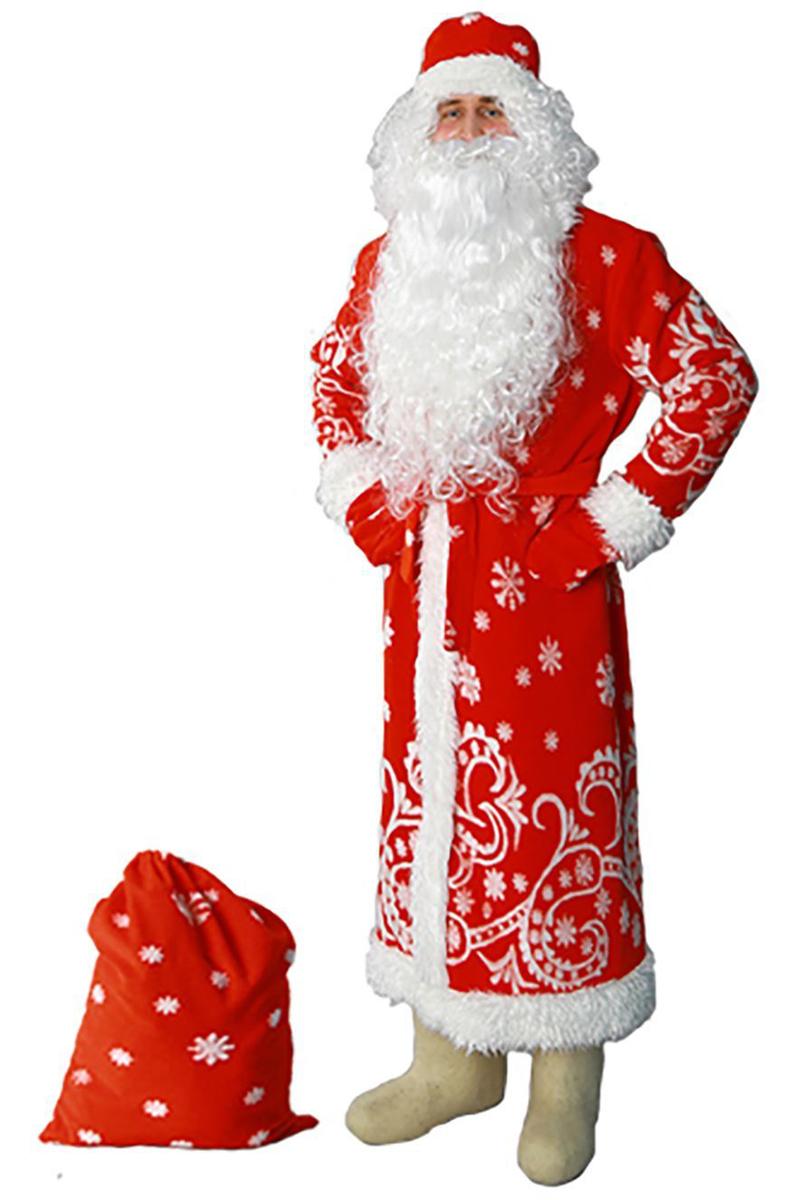 """Карнавальный костюм Sima-land """"Дед Мороз"""": шуба, шапка, варежки, пояс, мешок, цвет: красный. Размер 52/54"""