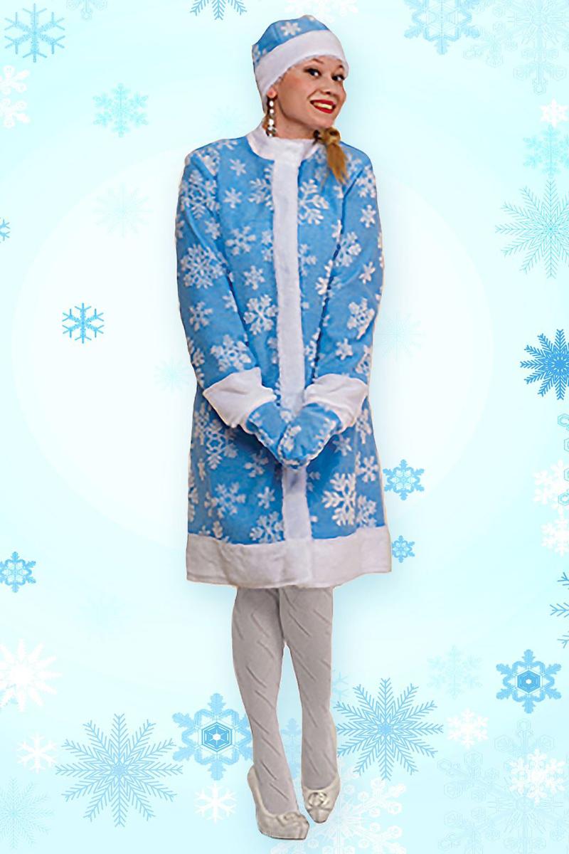 Карнавальный костюм Sima-land Снегурочка: шуба, шапка, рукавички, цвет: голубой. Размер 54 карнавальный костюм снегурочка 44 размер