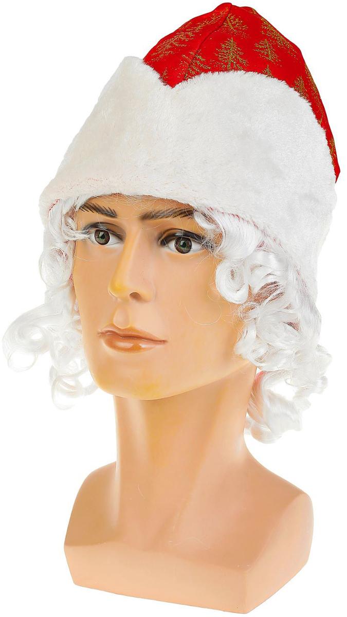 """Шапка карнавальная """"Дед Мороз"""", с волосами, цвет: красный. 2266102, Sima-land"""