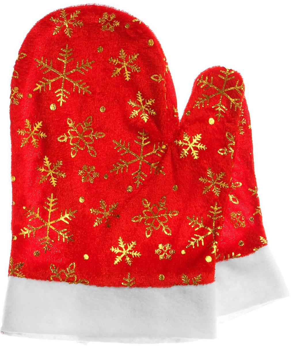 """Варежки Деда Мороза """"Sima-land"""", цвет красный, со снежинками. Размер универсальный"""